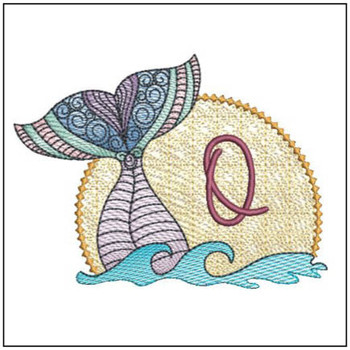 Mermaid ABC's - O - Machine Embroidery Design