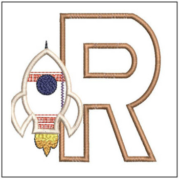 "Rocket Applique ABC's - R - Fits in a 4x4"" Hoop - Applique - Instant Downloadable Machine Embroidery"