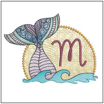 Mermaid ABC's - M - Machine Embroidery Design