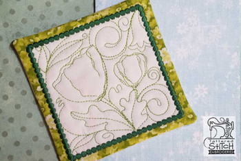 "Poppy Mug Rug- Fits a 5x7"" Hoop  - In the Hoop - Continuous Line - Instant Downloadable Machine Embroidery"