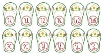 Flip Flop Font - U-Z - Embroidery Designs