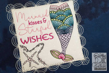 "Mermaid Kisses Quilt Block - Fits a 5x7"" & 8x8"" Hoop  - Instant Downloadable Machine Embroidery"