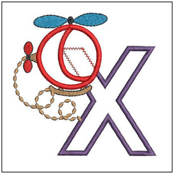Helicopter ABC's - X - Embroidery Designs