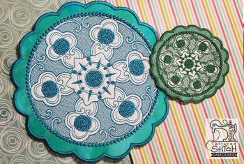 30% Off - Floral Button Coasters-Trivets Bundle - Embroidery Designs