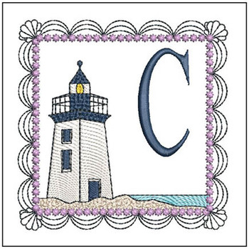 "Lighthouse ABC's - C - Fits in a 5x7"" Hoop - Applique - Instant Downloadable Machine Embroidery"