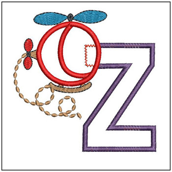"Helicopter ABC's - Z - Fits in a 4x4"" Hoop - Applique - Instant Downloadable Machine Embroidery"