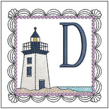 "Lighthouse ABC's - D - Fits in a 5x7"" Hoop - Applique - Instant Downloadable Machine Embroidery"