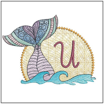 "Mermaid ABC's - U - Fits in a 5x7"" Hoop - Instant Downloadable Machine Embroidery"