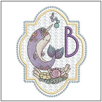 "Narwhal ABC's - B - Fits in a 5x7"" Hoop - Instant Downloadable Machine Embroidery"