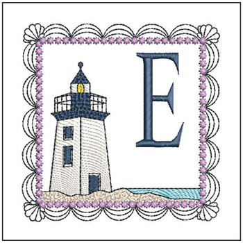 "Lighthouse ABC's - E - Fits in a 5x7"" Hoop - Applique - Instant Downloadable Machine Embroidery"
