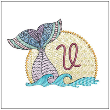 "Mermaid ABC's - V - Fits in a 5x7"" Hoop - Instant Downloadable Machine Embroidery"