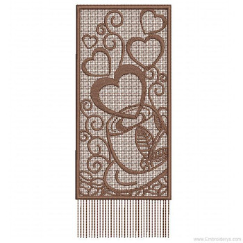 Coffee Bookmark Free Standing Lace - Embroidery Designs