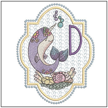 "Narwhal ABC's - D - Fits in a 5x7"" Hoop - Instant Downloadable Machine Embroidery"