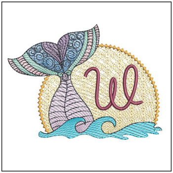 "Mermaid ABC's - W - Fits in a 5x7"" Hoop - Instant Downloadable Machine Embroidery"