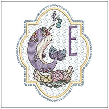 "Narwhal ABC's - E - Fits in a 5x7"" Hoop - Instant Downloadable Machine Embroidery"