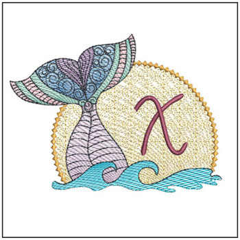 Mermaid ABC's - X - Machine Embroidery Design