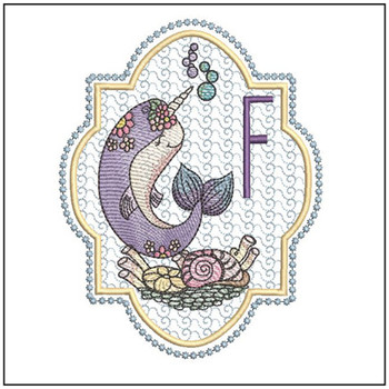 "Narwhal ABC's - F - Fits in a 5x7"" Hoop - Instant Downloadable Machine Embroidery"