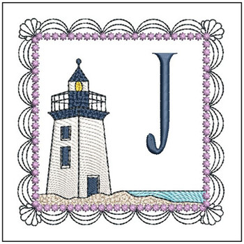 "Lighthouse ABC's - J - Fits in a 5x7"" Hoop - Applique - Instant Downloadable Machine Embroidery"