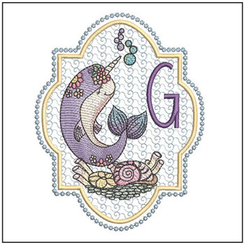 "Narwhal ABC's - G - Fits in a 5x7"" Hoop - Instant Downloadable Machine Embroidery"