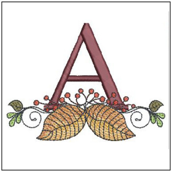 "Aspen Leaf ABC's - A- Fits in a 5x7"" Hoop - Instant Downloadable Machine Embroidery"