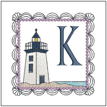 "Lighthouse ABC's - K - Fits in a 5x7"" Hoop - Applique - Instant Downloadable Machine Embroidery"