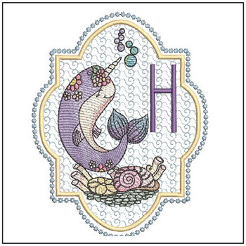 "Narwhal ABC's - H - Fits in a 5x7"" Hoop - Instant Downloadable Machine Embroidery"