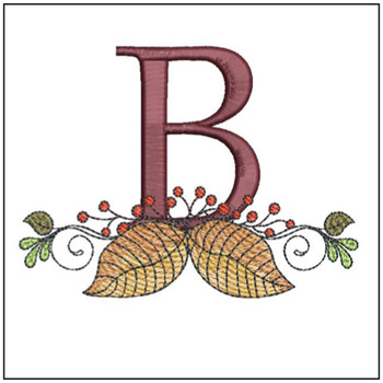 "Aspen Leaf ABC's - B- Fits in a 5x7"" Hoop - Instant Downloadable Machine Embroidery"