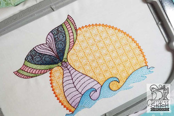 """Mermaid Sunset- Fits in a  4x4 & 5x7"""" Hoop - Instant Downloadable Machine Embroidery"""