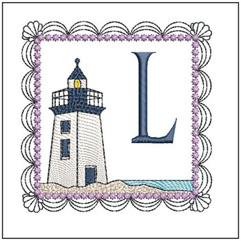 """Lighthouse ABC's - L - Fits in a 5x7"""" Hoop - Applique - Instant Downloadable Machine Embroidery"""