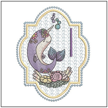 "Narwhal ABC's - I - Fits in a 5x7"" Hoop - Instant Downloadable Machine Embroidery"