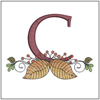 "Aspen Leaf ABC's - C - Fits in a 5x7"" Hoop - Instant Downloadable Machine Embroidery"