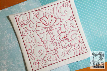 Teddy Bear Quilt Block - Multiple Sizes - In the Hoop - Continuous Line - Instant Downloadable Machine Embroidery
