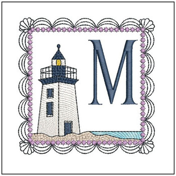 "Lighthouse ABC's - M - Fits in a 5x7"" Hoop - Applique - Instant Downloadable Machine Embroidery"