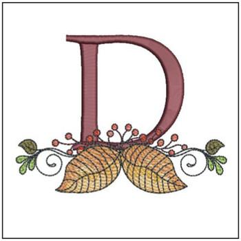 Aspen Leaf ABC's - D - Embroidery Designs