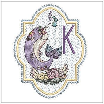 Narwhal ABC's - K -  Machine Embroidery Design