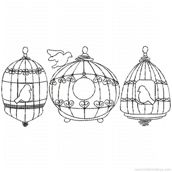 Birdcages Redwork - Embroidery Designs