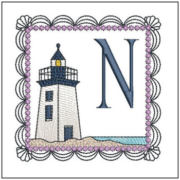 "Lighthouse ABC's - N - Fits in a 5x7"" Hoop - Applique - Instant Downloadable Machine Embroidery"