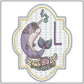 "Narwhal ABC's - L - Fits in a 5x7"" Hoop - Instant Downloadable Machine Embroidery"