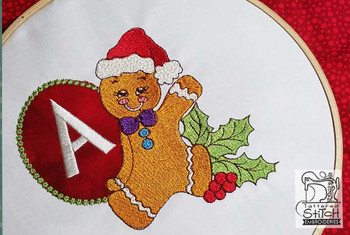 "Gingerbread Man ABC's - A - Fits in a 5x7"" Hoop - Instant Downloadable Machine Embroidery"