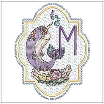 Narwhal ABC's - M -  Machine Embroidery Design