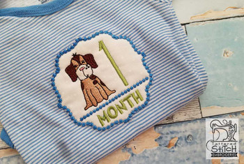 "Puppy Luv -Monthly Milestones Bundle 1 - 4  - Fits into a 4x4"" Hoop - Instant Downloadable Machine Embroidery"