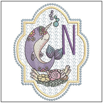 Narwhal ABC's - N -  Machine Embroidery Design