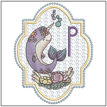 Narwhal ABC's - P -  Machine Embroidery Design