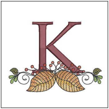 Aspen Leaf ABC's - K - Embroidery Designs