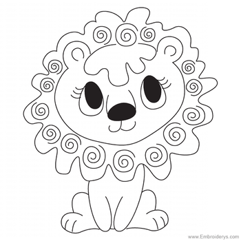 Cute Baby Lion Applique - Embroidery Designs