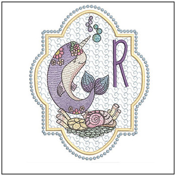 "Narwhal ABC's - R - Fits in a 5x7"" Hoop - Instant Downloadable Machine Embroidery"