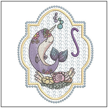 Narwhal ABC's - S -  Machine Embroidery Design