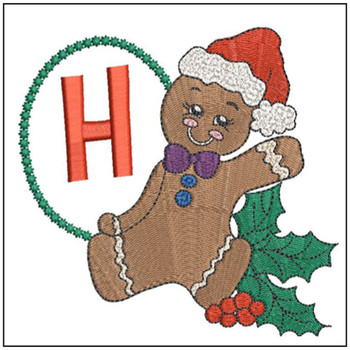 Gingerbread Man ABC's - H - Embroidery Designs