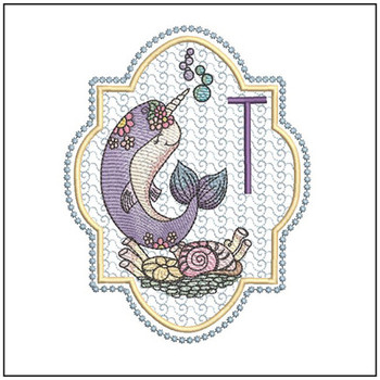 Narwhal ABC's - T -  Machine Embroidery Design