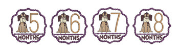 "Puppy Luv -Monthly Milestones Bundle 5-8  - Fits into a 4x4"" Hoop - Instant Downloadable Machine Embroidery"